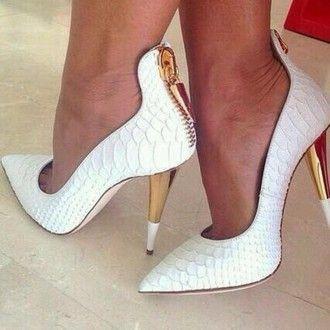 shoes tom ford snake skin zip gold zipper heels python bag texture white heels crocodile barbeeboutique chic fashion high heels fashionista