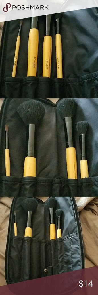 cbeb9577267 Makeup brush set Four great brushes with Case comes in handy if your on the  go