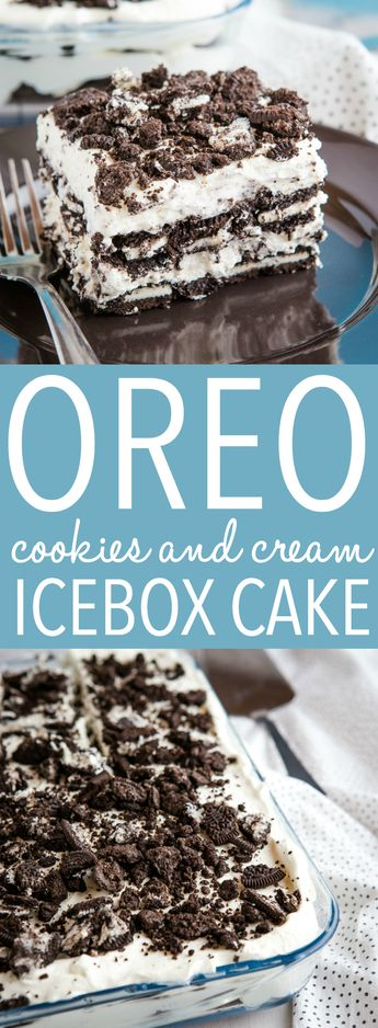 This Easy No Bake Cookies and Cream Oreo Icebox Cake is the perfect creamy no bake summer dessert! Only 4 ingredients required! Recipe from thebusybaker.ca! #oreo #iceboxcake #nobake #cheesecake #dessert #sweet #barbecue #poolparty #summer #summerdessert