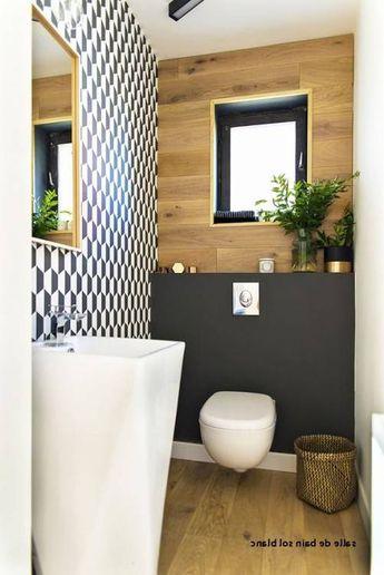 Salon carrelage noir brillant: photos salle bains moderne