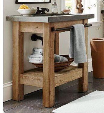 Custom bathroom vanity, reclaimed wood with steel pipe towel bar