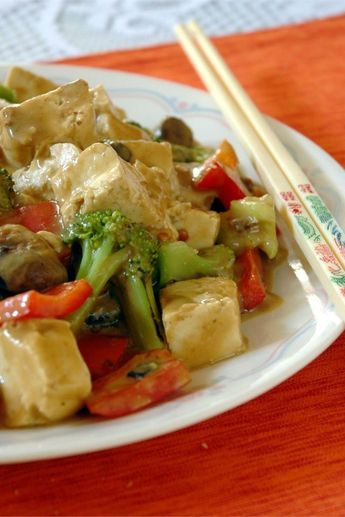 "Tofu and Veggies in Peanut Sauce | ""Loved it! Will make this again. I also took the advice of previous reviewers and added garlic, ginger to the oil, and used more veggies like carrots and snap peas."" #allrecipes #worldcuisine #internationalrecipes #globalrecipes #regionalrecipes #globalfoods #internationalfoods"