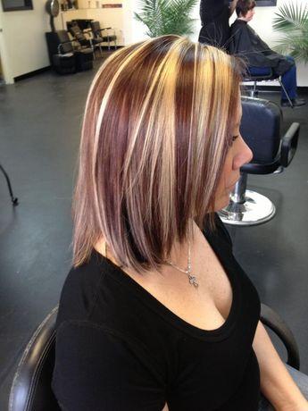 Red Lowlights Bright Blonde Highlight Lowlight Long Hair