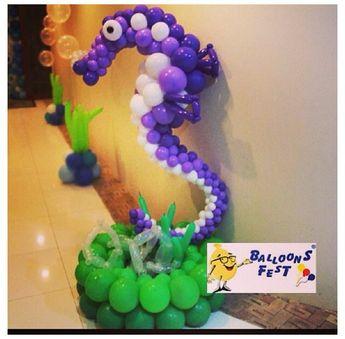 Seahorse balloon decor #seahorse #balloon #decor #under the sea  #balloon #sculpture #twist #art #character