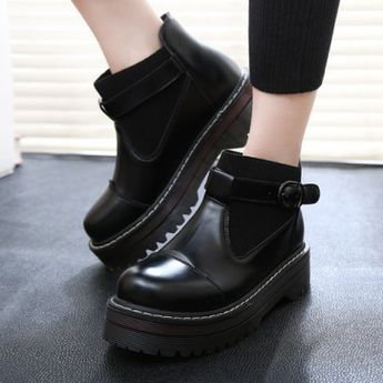 f13289aab8f Retro japanese leather buckle student boots from Cute Kawaii {harajuku  fashion