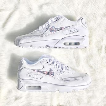 best service c0c88 9c20b Luxe Crystal Custom Nike Air Max 90 White Wedding Bridal Shoes