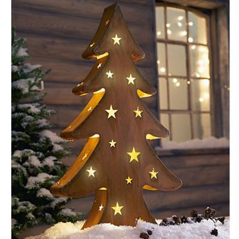 Weihnachtsdeko Led Stern Goldene Kugeln Beleuchtet Holz Kun