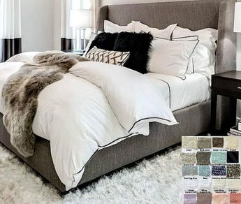 Linen duvet cover with piping finish, White, Gray, Blue, Pink, Stripe, Chevron, over 40 colors and patterns