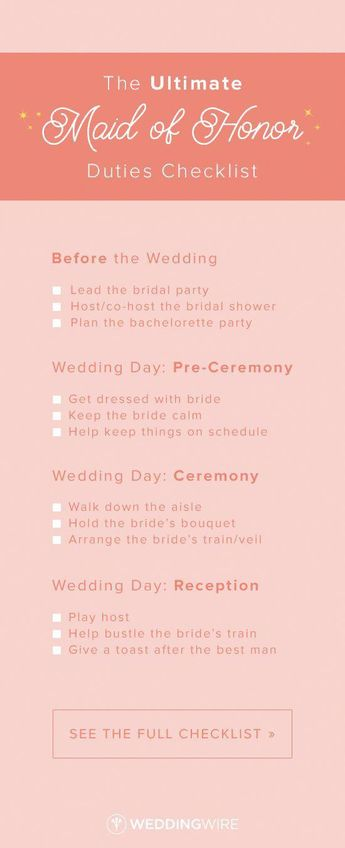 the ultimate maid of honor duties checklist from before the wedding to during the ceremony