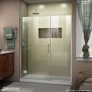 "DreamLine Unidoor-X 62 1/2-63 in. W x 72 in. H Frameless Hinged Shower Door - 62.5"" - 63"" W (Chrome Finish), Grey Finish"