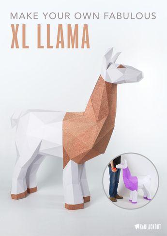 XL Llama Papercraft Template, PDF Printable Llama Pattern, DIY Low Poly Llama - Instant Download