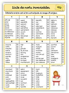Liste de mots invariables CE2