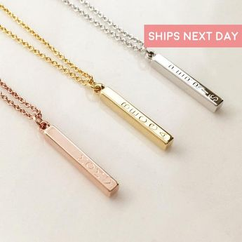 Vertical Bar Necklace Personalized Necklace with Name Necklace Rose Gold Necklace Pendant Necklace Custom Necklace Jewelry Gift - D4BN