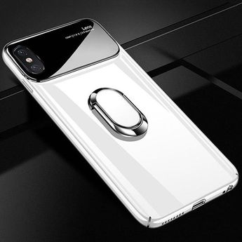 Luxury Slim PC + Glass Holoder Glossy Cover Cases For iPhone X XR XS Max 8 Plus 7 Plus