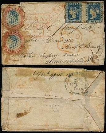 India 1852 (12 April). Deesa / Gujarat - UK / Weston Super Mare / Somersetshire (5 June 1852). Fkd env 1/2 anna blue pair and 4 annas red and blue x2, blue dots. Red India paid + London some minor wear at edges, otherwise very rare interesting item.    Dealer  Antonio M. Torres Shop    Fixed price:  3000.00 US$