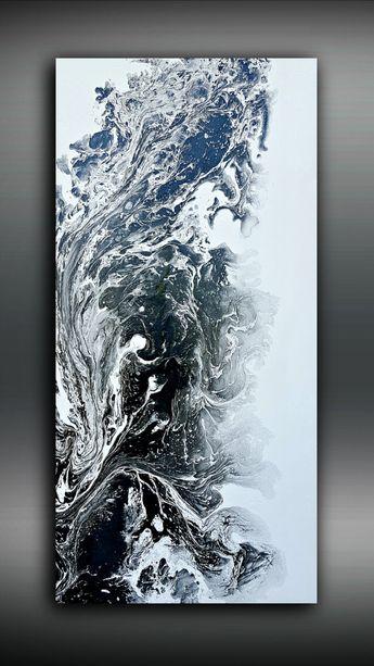 Noir et blanc 24 x 48 de peinture abstraite peinture acrylique peinture abstraite Art grand Wall Art toile noir Home Decor mur murale