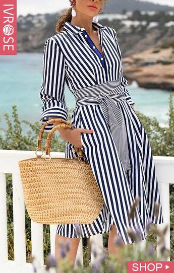 Striped Long Sleeve Knot Waist Shirt Dress