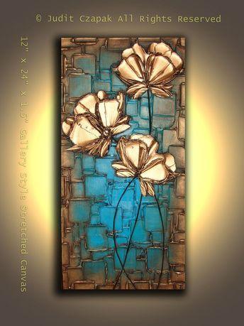 Original Modern Metallic Abstract Textured Painting. $129.00, via Etsy