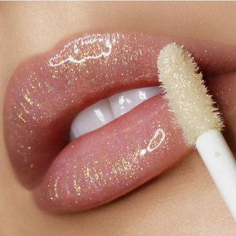 Gorgeous lipstick lip makeup ideas - Nude glitter lipstick #lipmakeup #makeup #lips