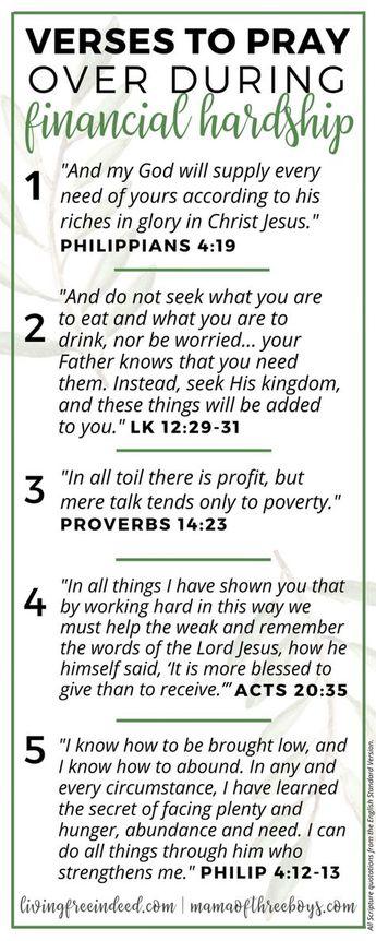 6 Verses To Pray During Financial Hardship