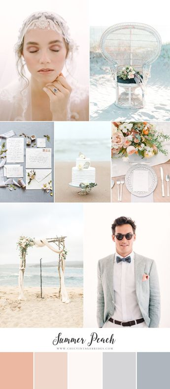 Summer Peach - Beach Wedding Inspiration in a Palette of Delicate Peach & Dusky Blues