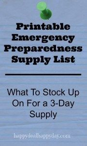 Free Printable Emergency Preparedness Supply List - What To Stock Up On For a 3-Day Supply