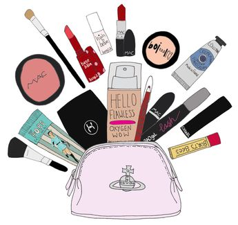 Updated what's in my makeup bag. What's in yours?  #makeup #flatlay #designermakeup #beauty #makeupbags Illustrated by Amy Purfield-Clark