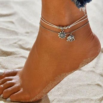 Women's Double Layered Double Anklet feet jewelry Leather Elephant Sun Cheap Dainty Ladies Gypsy Delicate Anklet Jewelry Silver For Holiday Beach Bikini