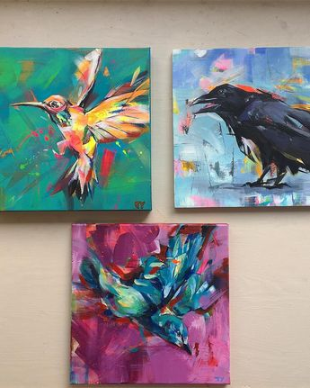 Art hanging day! Selecting the right pieces for a gallery wall. #studioscenes #birdsofinstagram #sfartist #sanfranciscoart #sfartshow #gallerywall