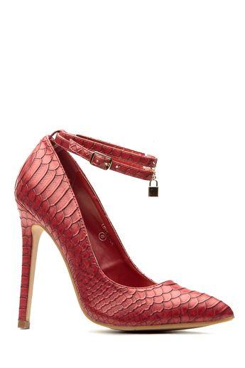 efe98a2ddfaf Wine Faux Snake Skin Pointed Toe Ankle Strap Heels   Cicihot Heel Shoes  online store sales