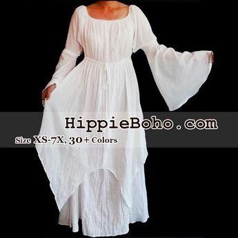 862d62d2b5b No.301 - Size XS-7X Hippie Boho Bohemian Gypsy White Long Sleeve Plus