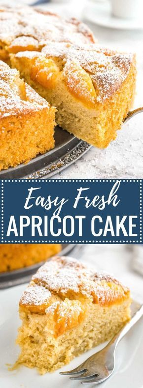 Apricot Cake is so easy to make from scratch! This simple but so flavorful coffee cake is topped with fresh apricots and is perfect for summer entertaining.