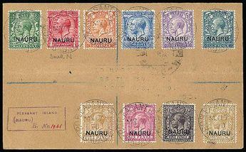 "Nauru, 1920, King George V, 1/2p-1sh overprint set on cover. Neatly arranged on registered cover, to England, postmarked ""P.O. Pleasant Isla..."