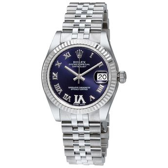 Rolex Datejust 31 Purple Dial Diamond Stainless Steel 18K White Gold Ladies Watch