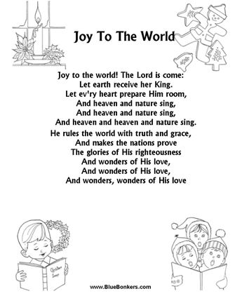 BlueBonkers: Joy to the World Free Printable Christmas Carol Lyrics Sheets : Favorite Christmas Song Sheets