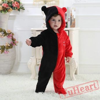 ef1d25a6ec14 Black Red Kigurumi Onesies Pajamas Costumes for Baby