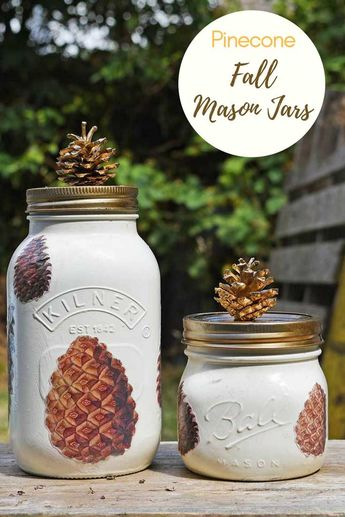 Its fun to decorate Mason jars, here I have crafted a unique fall Mason jar. I've decorated the Mason jar with decoupaged pine cones and a pine cone lid. #masonjar #fallcrafts #pinecones