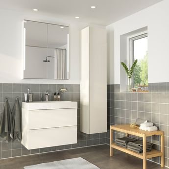 IKEA - GODMORGON / BRÅVIKEN Bathroom furniture, set of 5 high gloss