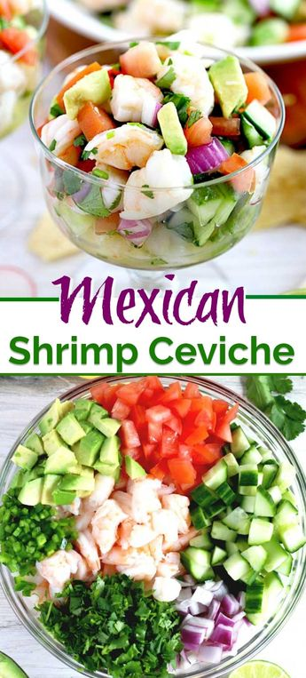 This No Cooking Required Mexican-inspired Shrimp Ceviche is light, fresh and full of flavor. Citrus marinated shrimp, tomatoes, cucumbers, onions, avocado and jalapenos make the most delicious and easy to make ceviche ever! Serve it with tortilla chips or crackers for the most refreshing and delicious appetizer. #easy #recipe #keto #lowcarb #healthy #cooked #Mexican #appetizer #glutenfree