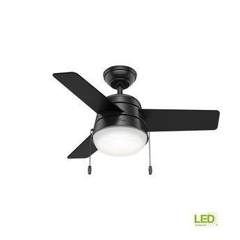 5a33278c94c Hunter Aker 36 in. LED Indoor Matte Black Ceiling Fan with Light