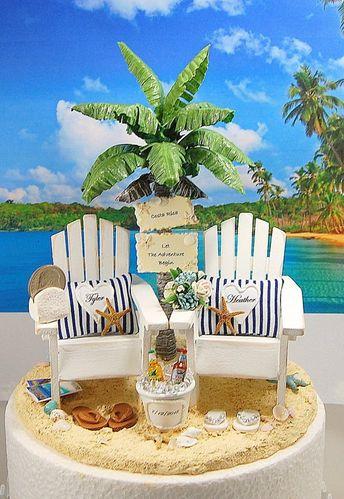 9cbf3fe85952 BEACH WEDDING Cake Topper CUSTOM Colors