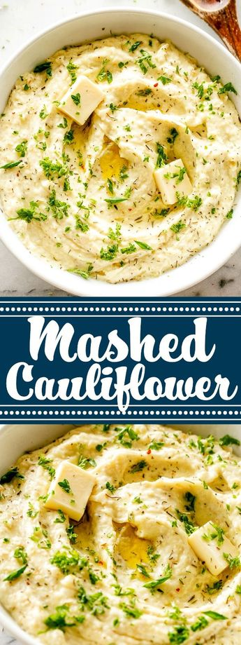 Creamy Mashed Cauliflower - Mash cauliflower florets into a creamy, healthy, and delicious low-carb substitute for mashed potatoes! A comforting, buttery, and garlicky Mashed Cauliflower recipe that is VERY easy to make and it's done in just 15 minutes! #mashedcauliflower #cauliflowermashedpotatoes #healthy #lowcarbrecipes #vegetarian #sidedish