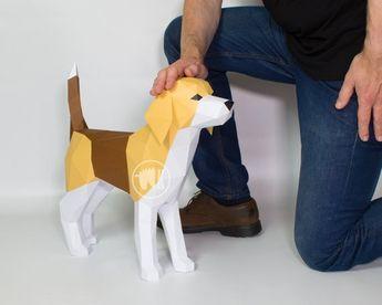 Beagle Dog Papercraft Template, Printable PDF Beagle Hound Pattern, DIY Beagle Lover Gift, 3D Low Poly Dog - Instant Download