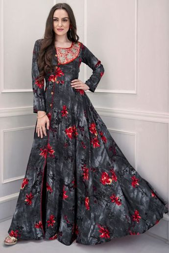 3fb2af2095 Recent Pinterest latest kurti designs tunics party wear maxi dresses Ideas.  Rayon Party Wear Gown in Grey and Black
