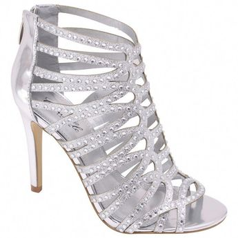 4ac0afc952fd Silver High Heel Strappy Sandal Rhinestone Bridal Prom Wedding Formal Shoes   WildRose  OpenToe