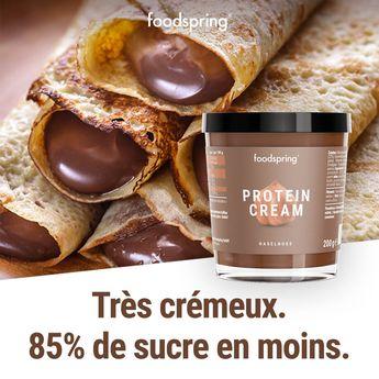 Pâte à tartiner protéinée avec 85 % de sucre en moins pour 4.99€ !  - 85 % moins de sucre,  - 3 x plus de protéines - 40 % de glucides en moins*  Sans huile de palme, la saveur authentique des vrais ingrédients