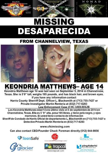 9/5/2014: Keondria Matthews, age 14, is #missing from Channelview, Texas.