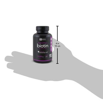High Potency Biotin 10000mcg with Organic Coconut Oil; Supports Hair Growth Glowing Skin and Strong Nails; 120 MiniVeggie Softgels * Continue to the product at the image link. (This is an affiliate link)