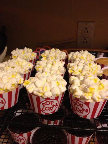popcorn cupcakes for a movie themed bridal shower