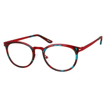 05803a61620 Zenni Womens Round Prescription Eyeglasses Red Tortoiseshell Mixed  Materials 7818818
